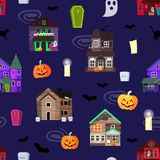 Vector scary horror house dark castle home halloween scare spooky background old creepy haunted mystery abandoned black. Windows and pumpkins seamless pattern Stock Illustration