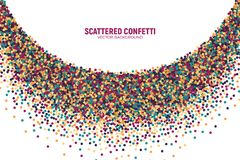Vector Scattered Motley Confetti White Background. Vector Scattered Colorful Motley Confetti 3D Illustration in Abstract Bend Shape Isolated on White Background Stock Photo