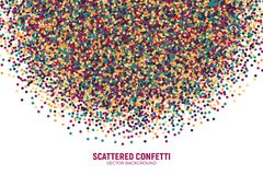 Vector Scattered Motley Confetti White Background. Vector Scattered Colorful Motley Confetti 3D Illustration in Abstract Shape Isolated on White Background Stock Photos