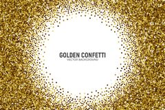 Vector Scattered Golden Confetti White Background. Vector Scattered Golden Confetti in Abstract Circle Frame Shape Isolated on White Background 3D Illustration Stock Photo