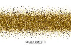 Vector Scattered Golden Confetti White Background. Vector Scattered Golden Confetti in Abstract Line Shape Isolated on White Background 3D Illustration Royalty Free Stock Photography