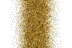 Vector Scattered Golden Confetti White Background. Vector Scattered Golden Confetti in Abstract Shape Isolated on White Background 3D Illustration. Slapstick Royalty Free Stock Photo