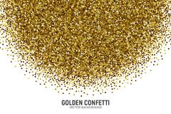 Vector Scattered Golden Confetti White Background. Vector Scattered Golden Confetti in Abstract Shape Isolated on White Background 3D Illustration. Slapstick Royalty Free Stock Photos