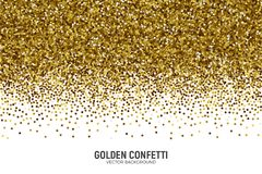 Vector Scattered Golden Confetti White Background. Vector Scattered Golden Confetti in Abstract Shape Isolated on White Background 3D Illustration. Slapstick Stock Photo