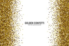 Vector Scattered Golden Confetti White Background. Vector Scattered Golden Confetti in Abstract Shape Isolated on White Background 3D Illustration. Slapstick Royalty Free Stock Image