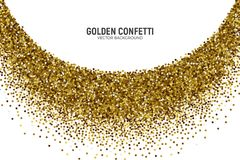 Vector Scattered Golden Confetti White Background. Vector Scattered Golden Confetti in Abstract Bend Shape Isolated on White Background 3D Illustration Royalty Free Stock Photos