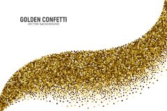 Vector Scattered Golden Confetti White Background. Vector Scattered Golden Confetti in Abstract Bend Shape Isolated on White Background 3D Illustration Stock Photo