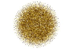 Vector Scattered Golden Confetti White Background. Vector Scattered Golden Confetti in Abstract Circle Shape Isolated on White Background 3D Illustration Royalty Free Stock Image