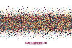 Vector Scattered Motley Confetti White Background. Vector Scattered Colorful Motley Confetti 3D Illustration in Abstract Shape Isolated on White Background Royalty Free Stock Image