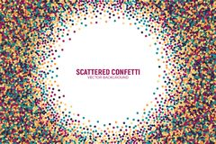 Vector Scattered Motley Confetti White Background. Vector Scattered Colorful Motley Confetti 3D Illustration in Abstract Shape Isolated on White Background Royalty Free Stock Photo