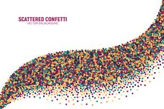 Vector Scattered Motley Confetti White Background. Vector Scattered Colorful Motley Confetti 3D Illustration in Abstract Bend Shape Isolated on White Background Stock Photography