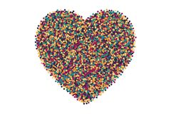 Vector Scattered Motley Confetti White Background. Vector Scattered Colorful Motley Confetti 3D Illustration in Abstract Heart Shape Isolated on White Background Stock Photography