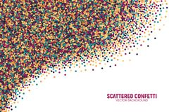 Vector Scattered Motley Confetti White Background. Vector Scattered Colorful Motley Confetti 3D Illustration in Abstract Shape Isolated on White Background Royalty Free Stock Images