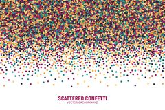 Vector Scattered Motley Confetti White Background. Vector Scattered Colorful Motley Confetti 3D Illustration in Abstract Shape Isolated on White Background Royalty Free Stock Photography