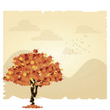 Vector Scene With Autumn Tree And Space For Text Royalty Free Stock Photos