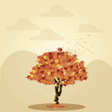Vector Scene With Autumn Tree And Space For Text Stock Photography