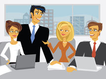 Vector Meeting Scene with cartoon business people Royalty Free Stock Images