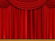 Vector Scene with Red Curtains Stock Photo