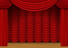 Vector Scene with Red Curtains and Wood Floor Royalty Free Stock Photography