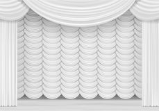 Vector Scene with White Curtains Royalty Free Stock Photography