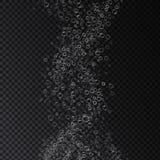 Vector schäumende WasserLuftblasebeschaffenheit auf transparentem Hintergrund Stockbilder