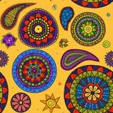 Vector schöne Blumen- und traditionelle Verzierung Paisleys seamles Stockbilder
