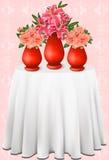 Vector schöne Blumensträuße von Lilien und von Rosen in v Lizenzfreie Stockfotos