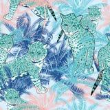 Vector schönes exotisches tropisches Sommermuster mit Palmen Lizenzfreie Stockfotografie
