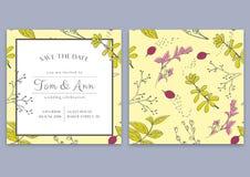 Vector Schablone der Hochzeitseinladungskarte mit Kräutern Außer dem Datum Botanische Art Stockbilder
