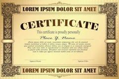 Vector Schablone für das Design des Zertifikats, der Anzeigen, des Umschlags, der Einladungen oder der Grußkarten lizenzfreie abbildung