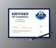 Vector Schablone für Zertifikat der Fußballtrainingsakademie Stockbilder