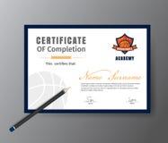 Vector Schablone für Zertifikat des BasketballAusbildungskurses Stockbild