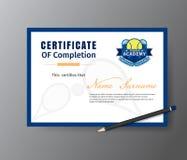 Vector Schablone für Zertifikat des TennisAusbildungskurses Stockbild