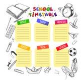 Vector Schablonen-Schulzeitplan für Studenten und Schüler Illustration umfasst viele Hand gezeichnete Elemente des Schulbedarfs S lizenzfreie abbildung
