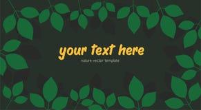 Vector Schablonenrahmennaturflora-Frühlingslaub, abstrakten tropischen Blatthintergrund Dunkler Wald stockbilder
