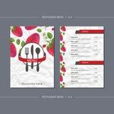 Vector Schablonenrestaurantmenü mit Erdbeere und Blättern Stockbild