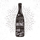 Vector Schattenbild der Weinflasche mit Sonnendurchbruch und Beschriftung lizenzfreie abbildung