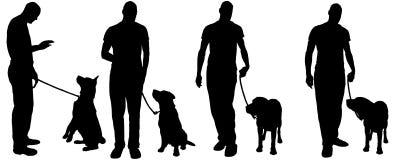 Vector Schattenbild eines Mannes mit einem Hund stock abbildung