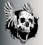 Vector schedel met vleugels stock illustratie