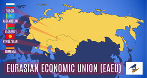 Vector. Schematic map of the member states of the Eurasian Econo Stock Image
