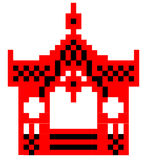 Vector schematic representation of Sumy gazebo. Vector Image Sumy gazebo can be used to cross-stitch red and black. The image is made up of squares Stock Image