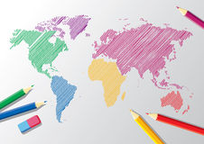 Vector Schets van een wereldkaart Royalty-vrije Stock Foto's