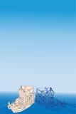 Vector Schiff, Meer, Weiß, dunkelblaue Farben Lizenzfreies Stockfoto