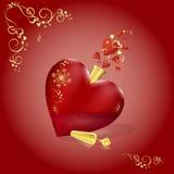 Vector schitterende fles in de vorm van een rood hart met gouden patroon en kurk Fladderend harten, houd van magisch Valentine `  Royalty-vrije Stock Afbeelding