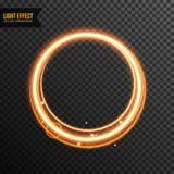 Vector schittert transparant van het cirkel Lichteffect met gouden royalty-vrije stock afbeeldingen