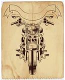 Vector Schmutzhintergrund mit einem Motorrad des beheizten Stabes Stockfotos
