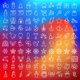 Vector schone vlakke die pictogrammen voor Kerstmis worden geplaatst holydays Royalty-vrije Stock Afbeelding