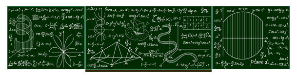 Vector school blackboard with handwritten mathematical calculations, plots, formulas. Mathematical educational background Stock Photo