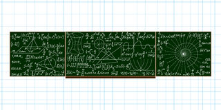 Vector school blackboard with handwritten mathematical calculations Royalty Free Stock Image
