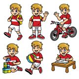 School boy set in various poses and activities vector illustration